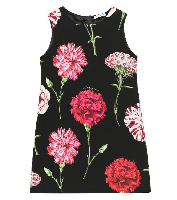 Dolce & Gabbana Kids' Floral Print Silk Blend Charmeuse Dress In Black