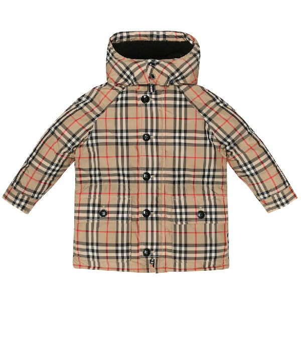 Burberry Girls' Vintage Check Down-filled Hooded Puffer Jacket - Little Kid, Big Kid In Beige