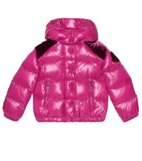 Moncler Kids' Chouette Velvet-trimmed Down Jacket In Purple
