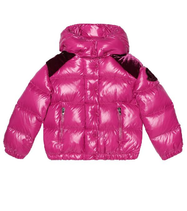 Moncler Kids' Velvet-Trimmed Down Jacket In Purple