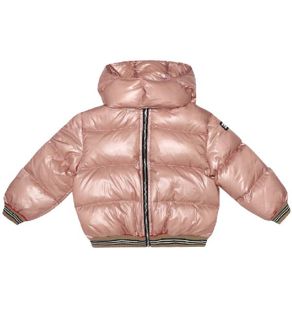 Burberry Girls' Josiah Hooded Down Puffer Jacket - Big Kid In Pink