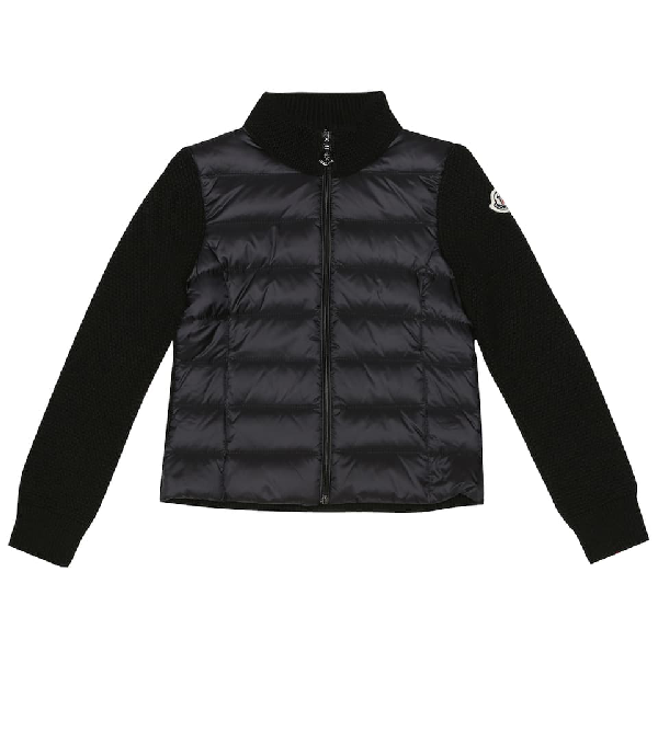 Moncler Kids' Quilted Down And Wool Jacket In Black
