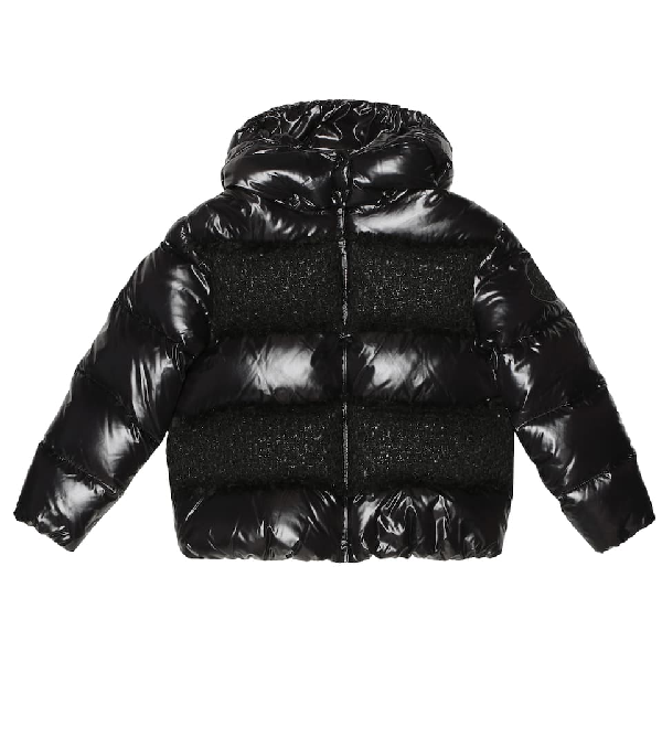 Moncler Teen Contrast Panel Padded Coat In Black