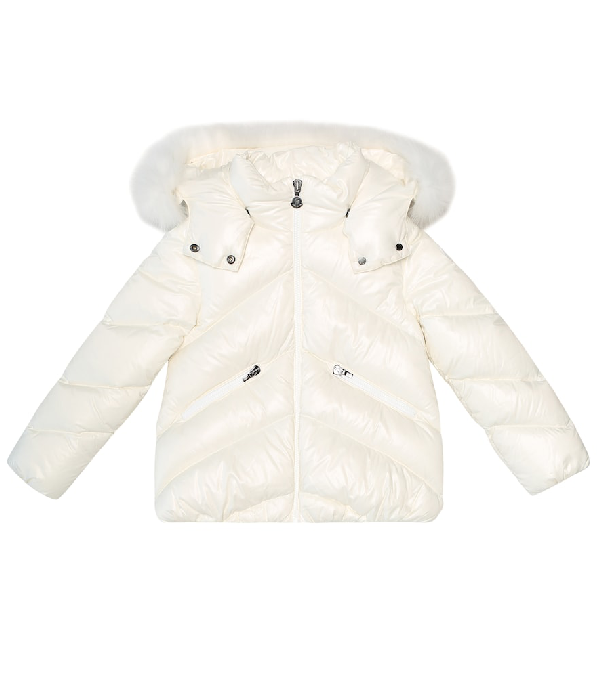 Moncler Kids' Anglais Nylon Down Jacket W/ Fur In White