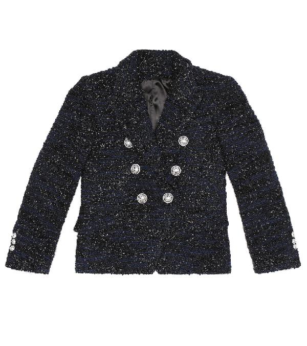 Balmain Kids' Double Breasted Wool Blend Tweed Jacket In Blue
