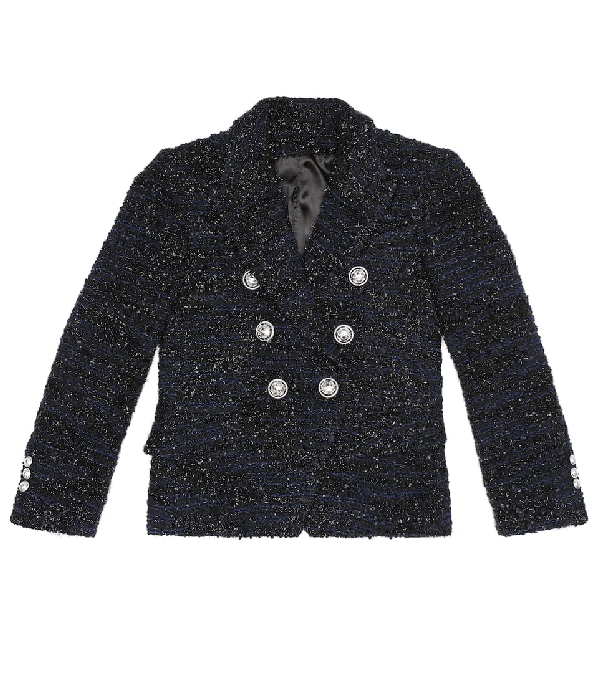 Balmain Kids' Double Breasted Wool Blend Tweed Jacket In Blue