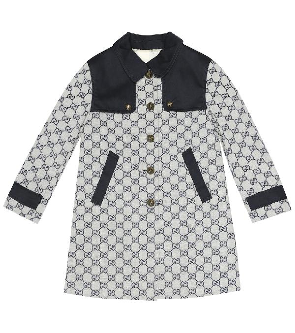 Gucci Kids' Gg Jacquard Gabardine Long Coat In Blue
