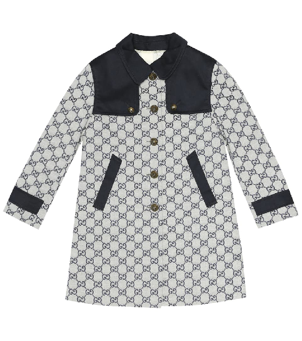 Gucci Kids' Gg Cotton-blend Coat In Blue