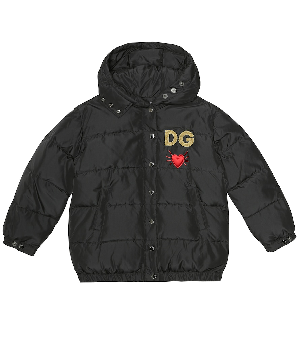 Dolce & Gabbana Kids' Embroidered Quilted Jacket In Black