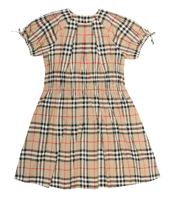 Burberry Kids' Ruched Vintage Check Cotton Dress In Beige