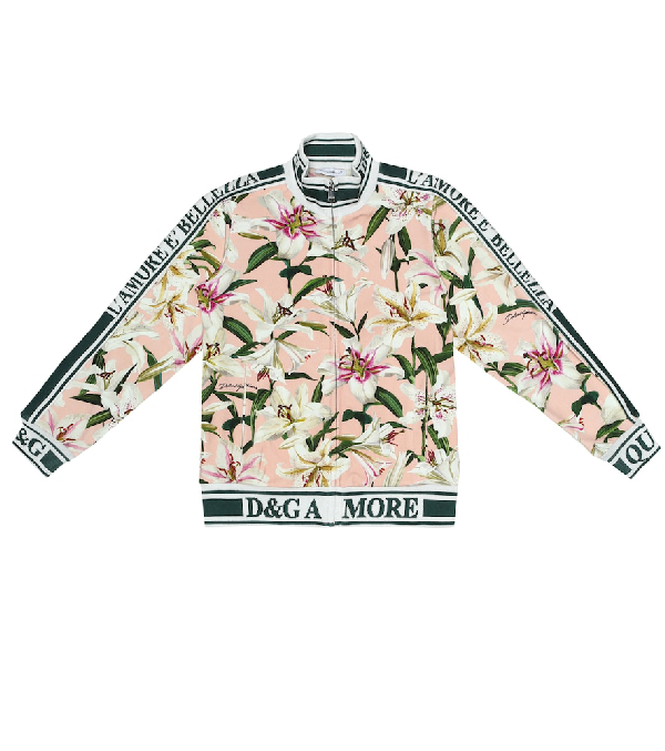 Dolce & Gabbana Kids' Floral Stretch-Cotton Track Jacket In Pink