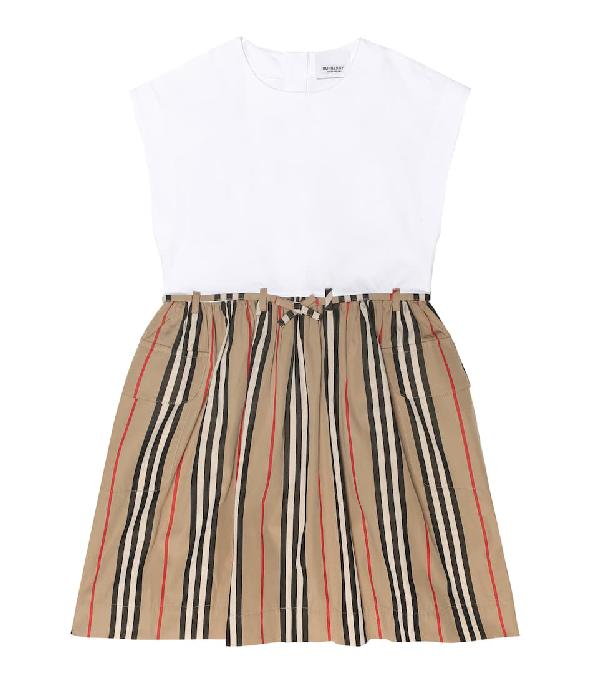 Burberry Girls' Ramona Icon Stripe Dress - Little Kid Big Kid In White,beige