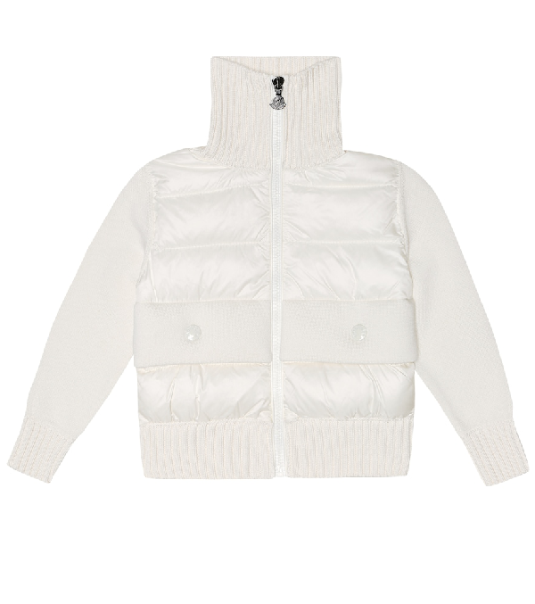 Moncler Kids' Cotton Knit & Nylon Down Jacket In White