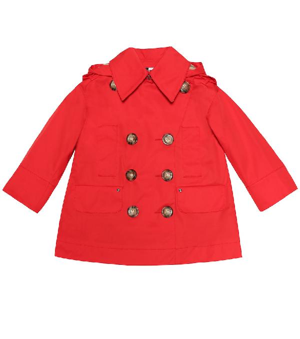 Burberry Girls' Merel Hodded Trench Coat - Little Kid, Big Kid In Red