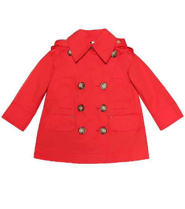Burberry Girls' Merel Hooded Trench Coat - Little Kid, Big Kid In Red