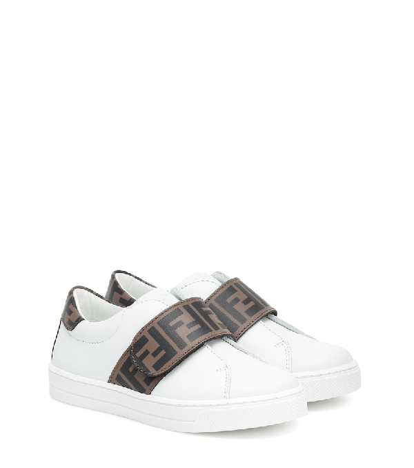Fendi Kids' Ff Trim Leather Low-top Sneakers, Toddler In White