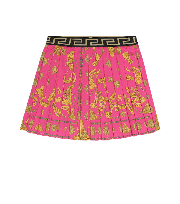 Versace Kids' Printed Stretch-cotton Skirt In Fuchsia
