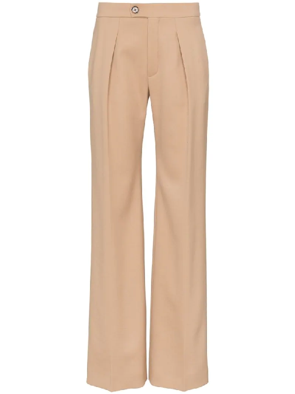 ChloÉ Pleated Virgin Wool Blend Trousers In Neutrals