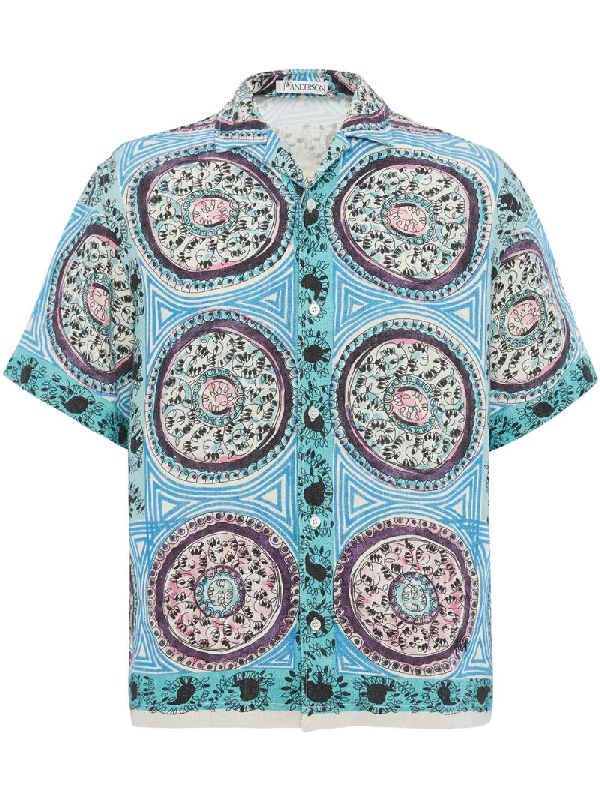 Jw Anderson Mystic Paisley Short Sleeves Shirt In Blue