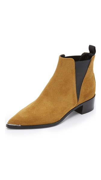 Acne Studios Jensen Suede Booties In Dark Sand