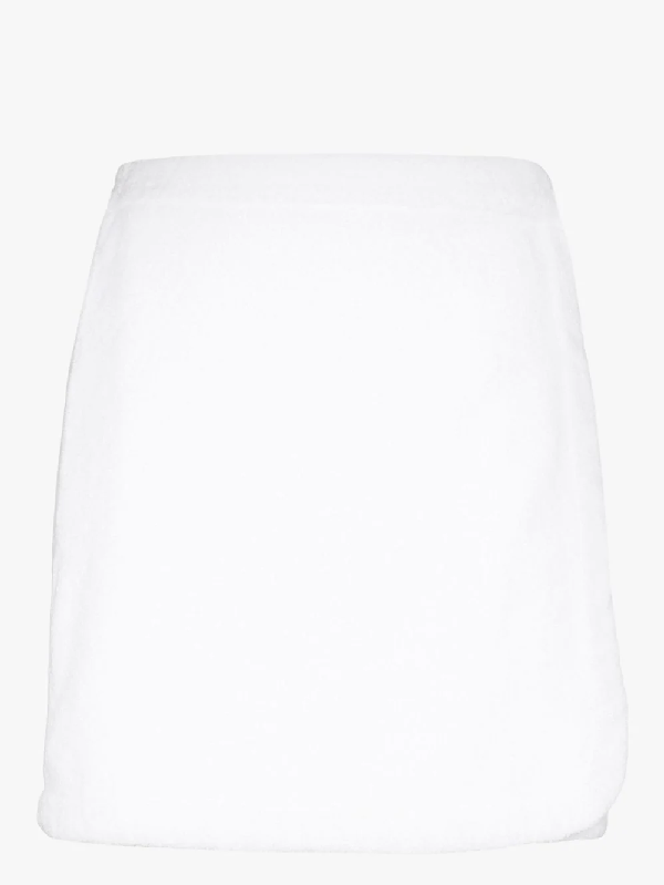 Terry Towelling Terry  Wrap Front Skirt In White