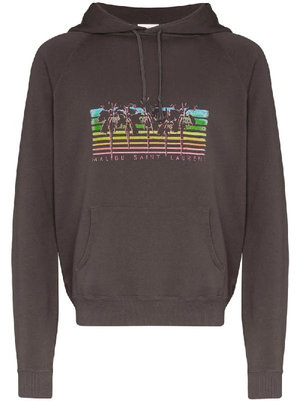 Saint Laurent Men's Rainbow Palms Logo Hoodie Sweatshirt In 1478 -gris/multicolore