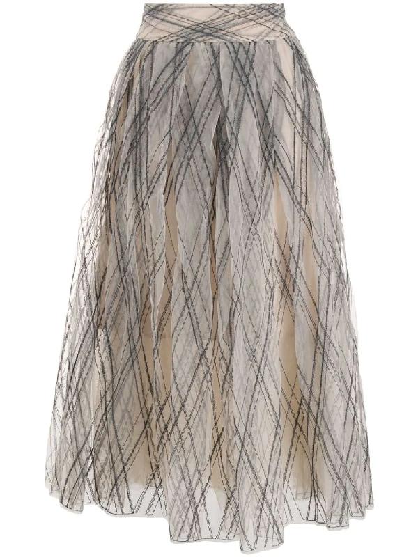 Brunello Cucinelli Embroidered Tulle A-line Midi Skirt In Neutrals