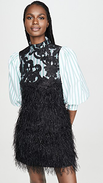 Ganni Exclusive To Mytheresa – Faux Feather And Lace Minidress In Black