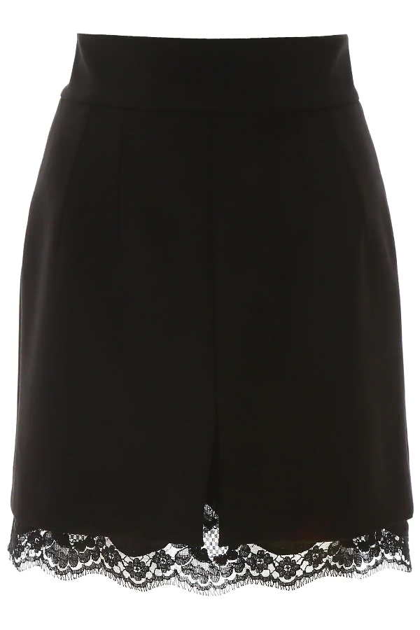 Dolce & Gabbana Mini Skirt With Chantilly Lace Insert In Black