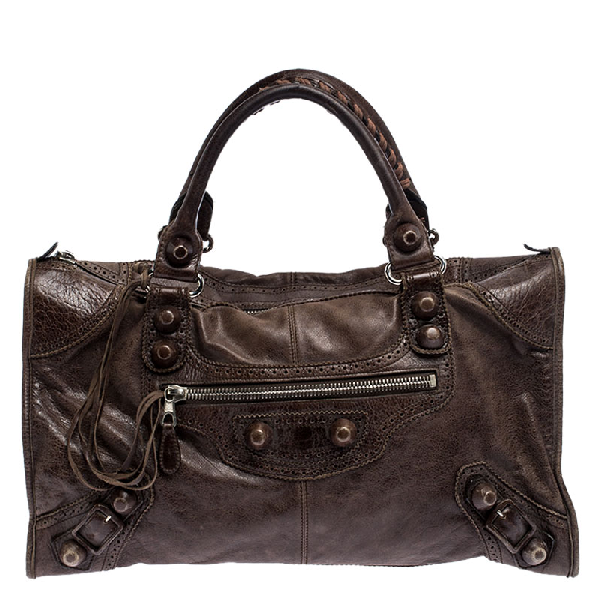 Balenciaga Brown Leather Gsh Brogues Work Tote