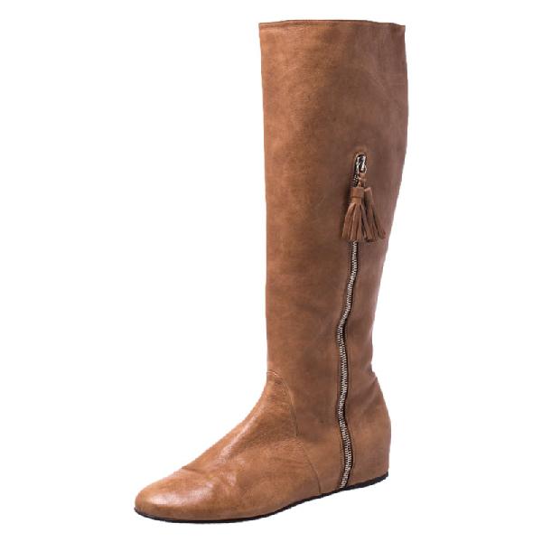 Stuart Weitzman Tan Tassel Zip Knee Length Boots Size 38.5