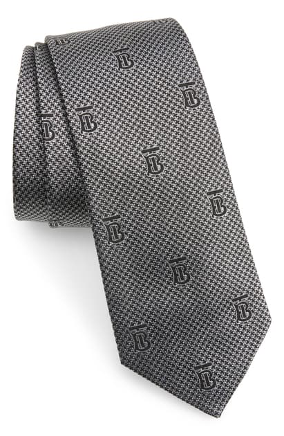 Burberry Manston Monogram Silk Tie In Pearl Grey