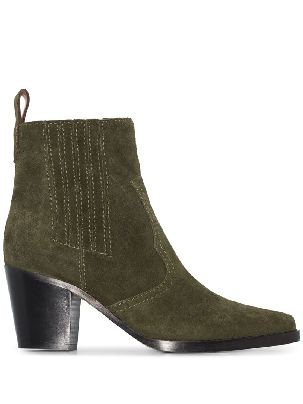 Ganni Western Suede Ankle Boots In Green