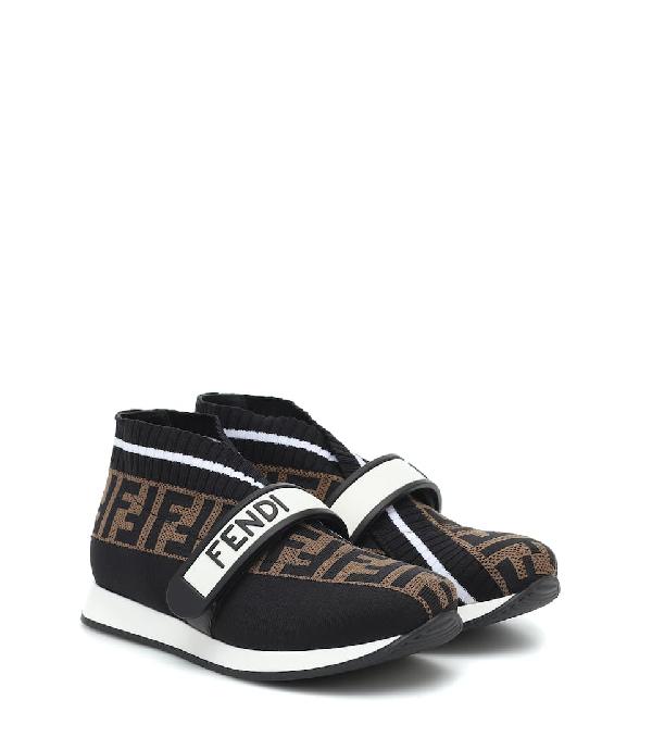 Fendi Kids' Logo Jacquard Knit Slip-on Sneakers In Black