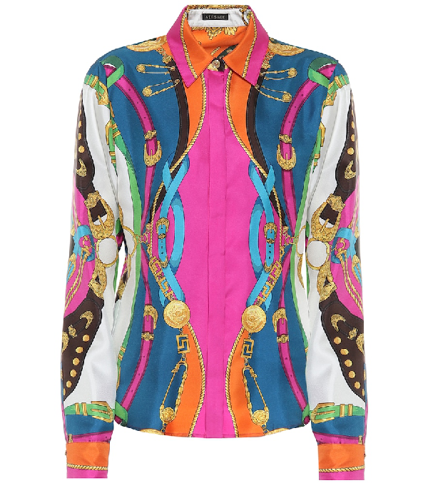 Versace Barocco Rodeo Print Slim Fit Silk Shirt In Multicoloured