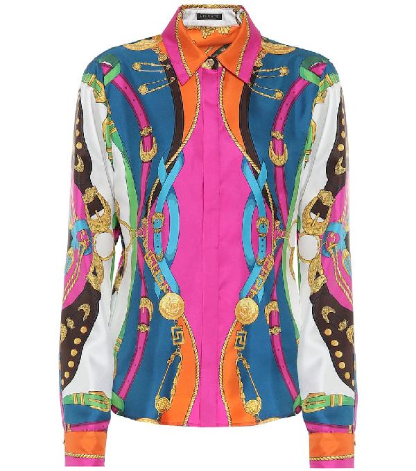 Versace Camicia In Twill Di Seta Con Stampa  Barocco Rodeo In Multicoloured