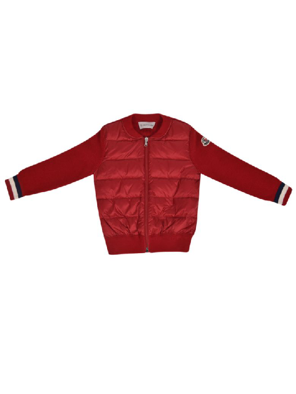 Moncler Babies' Zipped Padded Jacket In Red