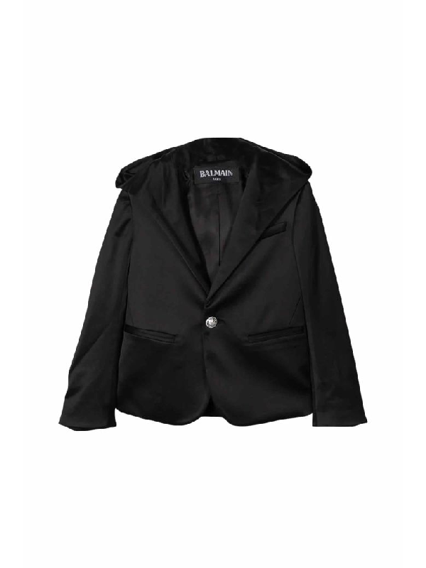 Balmain Kids' Single Button Blazer In Nero