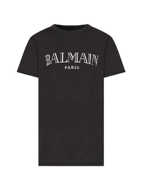 Balmain Kids' Black T-shirt With Silver Logo For Girl