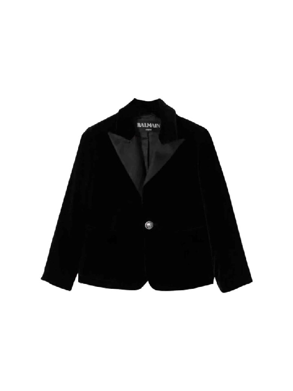 Balmain Kids' Single-breasted Jacket In Nero