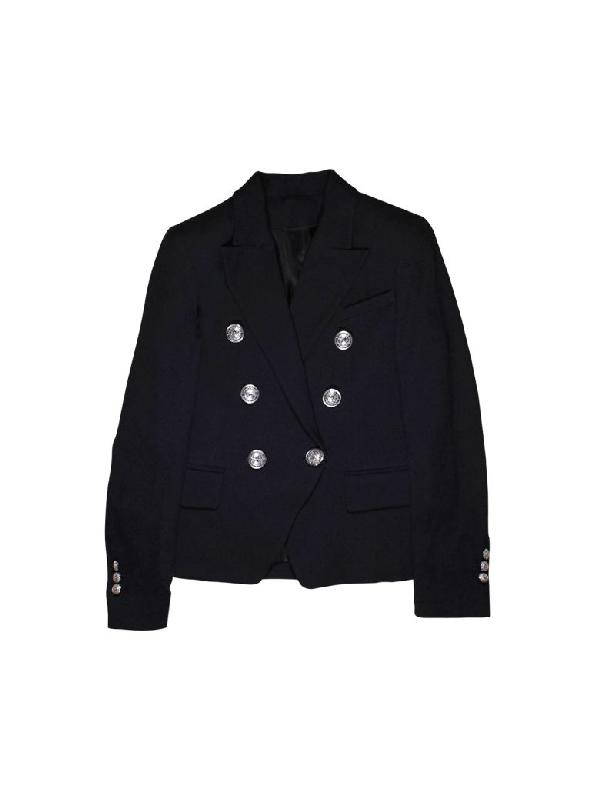 Balmain Black Double Breasted Teen Jacket