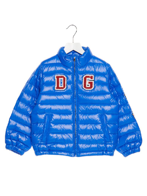 Dolce & Gabbana Kids' Logo Patch Down Jacket In Blue