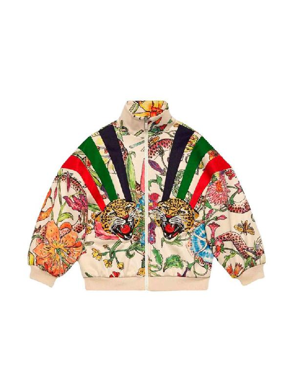 Gucci Kids' Children's Zip-up Sweatshirt With Flora Print In White