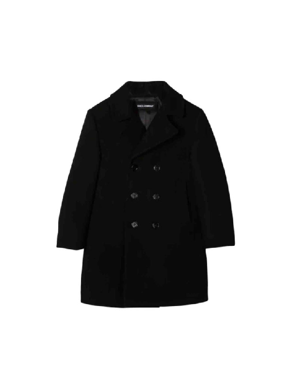 Dolce & Gabbana Kids' Black Coat In Nero