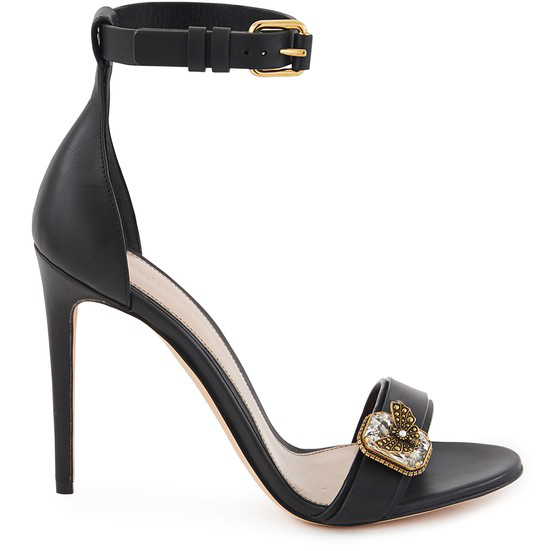 Alexander Mcqueen Leather Sandals With Butterfly Jewel In Black