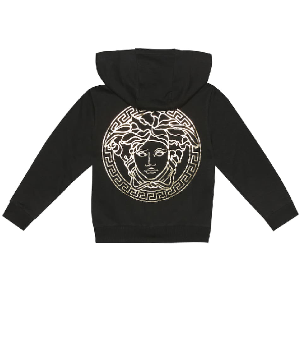 Versace Kids' Zip-up Cotton Sweatshirt Hoodie In Black