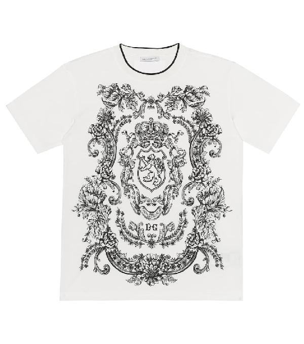 Dolce & Gabbana Kids' Lion Print Cotton Jersey T-shirt In White