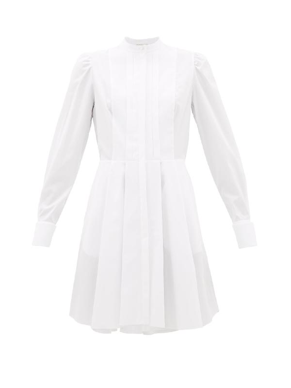 Alexander Mcqueen Cotton Poplin Mini Dress W/pique Detail In White