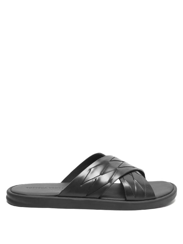 Bottega Veneta Men's Thin Weave Leather Cross Strap Sandals In Black