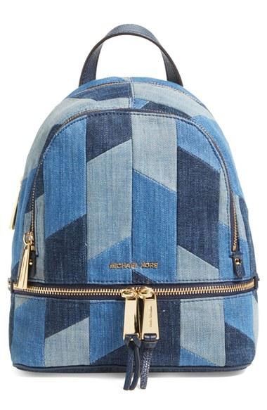 3fdf7a277faa Michael Kors 'Rhea' Medium Mosaic Patchwork Denim Backpack In Multi Blue/  Gold